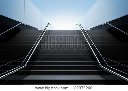 Empty black stairs in pedestrian subway. 3D Render