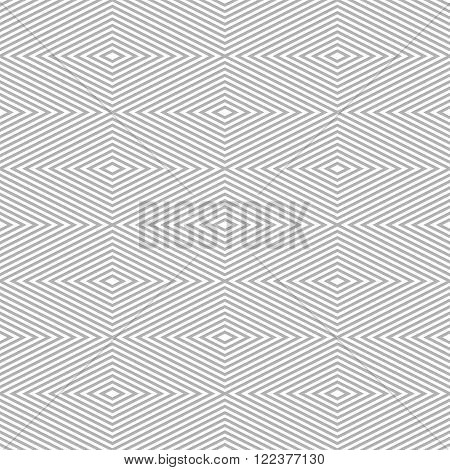 Seamless pattern of rhombuses. Diamond-shaped frames of decreasing sizes placed one inside another forming continuous drawing. Elegant laconic print in white and gray colors. Vector illustration