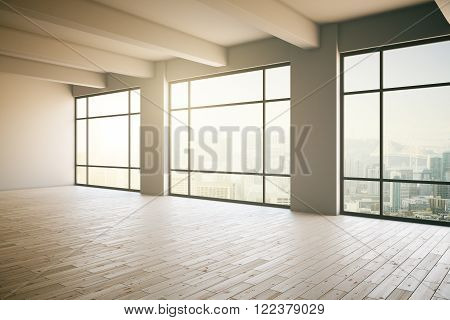 Empty light loft interior with wooden floor three panoramic windows and sunlight. 3D Render