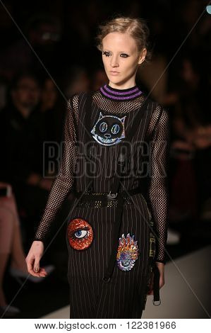 ISTANBUL, TURKEY - MARCH 16, 2016: A model showcases one of the latest creations of DB Berdan in Mercedes-Benz Fashion Week Istanbul
