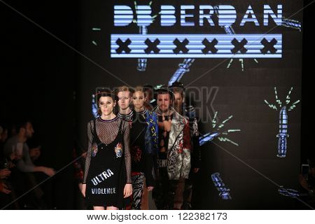 ISTANBUL, TURKEY - MARCH 16, 2016: Models showcase the latest creations of DB Berdan in Mercedes-Benz Fashion Week Istanbul