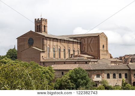 Sienna, church San Domenica, brick basilica in the north of the city, Tuscany, Italy