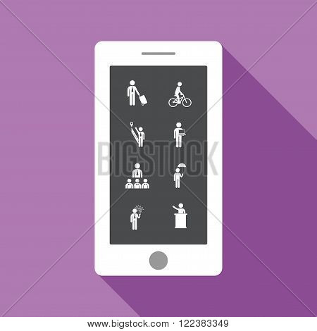 stick figure of human silhouette on mobile screen. vector picture