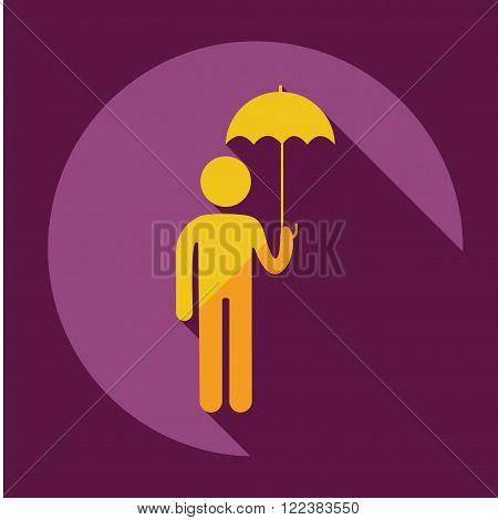 stick figure of human silhouette umbrella. vector picture