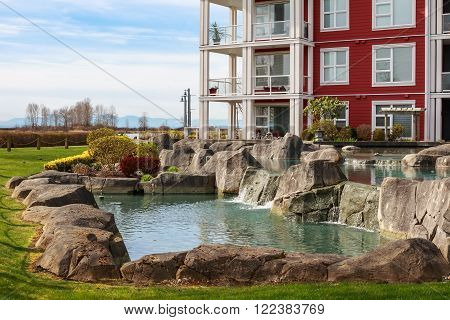 Backyard of modern apartment building in Vancouver BC Canada