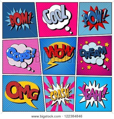 Comic Bubbles Set. Expressions Bom Cool Pow Oops Wow Dream Omg Crash Yeah. Halftone Background. Pop Art. Vector illustration