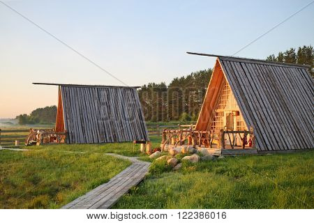 PERESLAVL-ZALESSKIY, RUSSIA - JUL 18, 2015: Guest houses in a recreation center Popov meadow in the morning