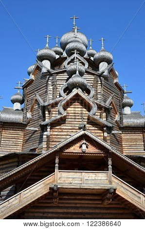 Church of the Intercession in the style of Russian wooden architecture in the Nevsky Forest Park in St. Petersburg.