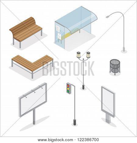 Urban Objects. Traffic Light. City Bench. Bus Stop. Street Light. Advertising Billboard. Trashcan. City Light. Isometric Object. Isometric City. Vector illustration