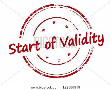 Rubber stamp with text start of validity inside vector illustration