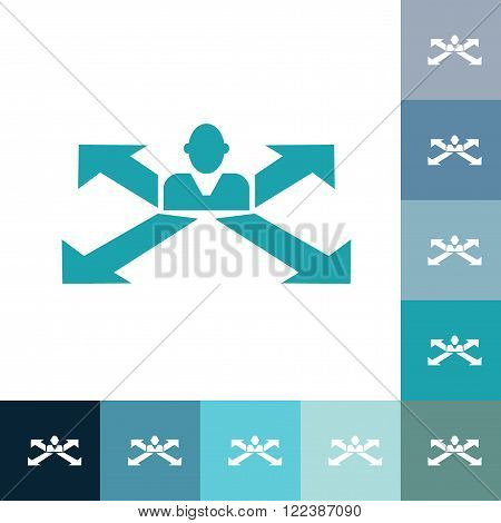 stick figure of human silhouette cool tones with arrows. vector picture
