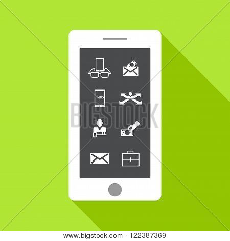 stick figure of human silhouette on mobile. vector picture