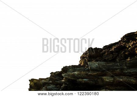 cilff stone white background , isolated ,copy space