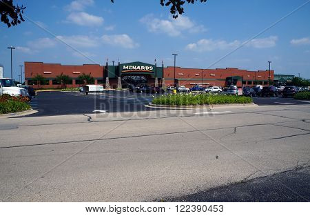 PLAINFIELD, ILLINOIS / UNITED STATES - JULY 10, 2015: People shop for hardware and building supplies at the Menards store in Plainfield.
