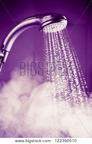 shower with water and steam, purple tone