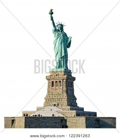 Statue of Liberty isolated on white background.