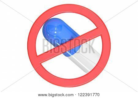 Sign forbidden with pill isolated on white background