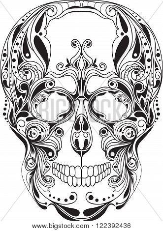 Human skull patterned, art design ornament, vector illustraion