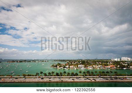 MacArthur causeway and Palm Island in intercoastal waters of Miami Florida