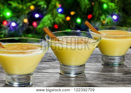 eggnog with cinnamon for christmas , side view