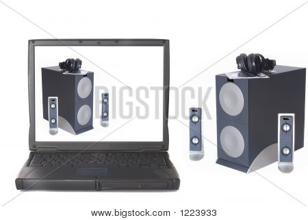 Laptop With Subwoofer Speaker System