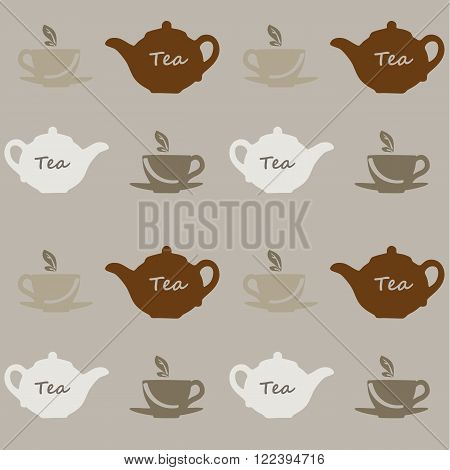 Seamless vector pattern with tea pots and tea cups on a grey background. Vector illustration. Set
