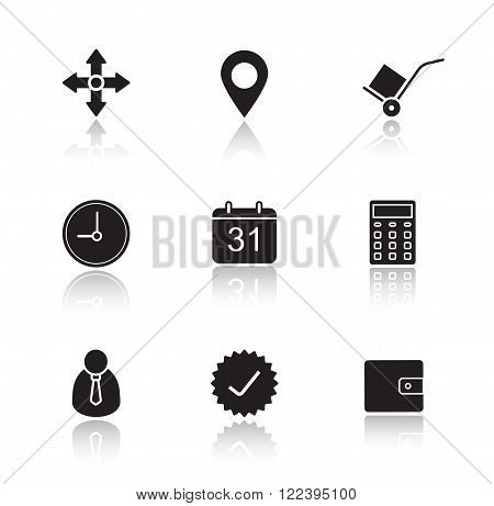 Delivery service drop shadow icons set. Online freight forwarding graphic interface. Transportation and logistics. Package tracking. Cast shadow logo concepts. Vector black silhouette illustrations