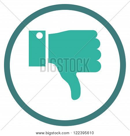 Thumb Down vector bicolor icon. Picture style is flat thumb down rounded icon drawn with cobalt and cyan colors on a white background.