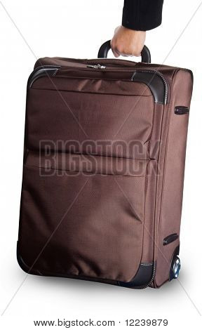 brown wheeled carryon luggage isolated on white