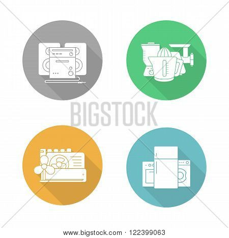 Consumer electronics flat design icons set. Air conditioning equipment, household appliances, kitchenware electric items, and sound system. Long shadow logo concepts. Vector silhouette illustrations