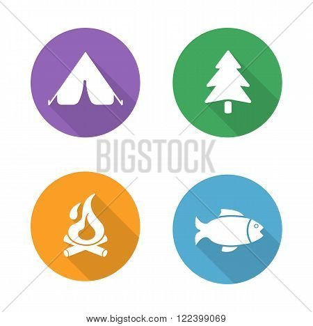 Camping flat design icons set. Camp tent, forest tree symbol, campfire, fishing sign. Outdoor recreation and survival long shadow logo concepts. White silhouette illustrations on color circles. Vector