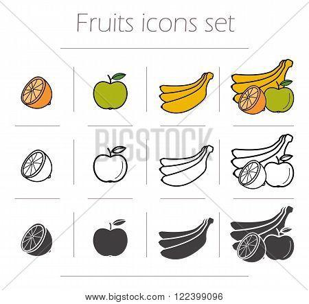 Fruits icons set. Green color apple with leaf. Banana black silhouette illustration. Half orange linear symbol. Fruits still life. Vector