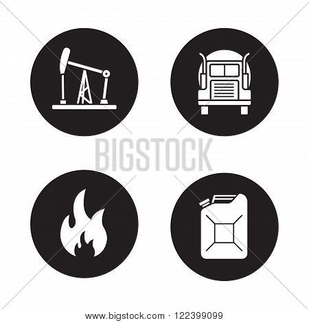 Fuel and gasoline production black icons set. Oil derrick, gas truck, flammable danger sign, petrol jerrycan. Petroleum industry black and white silhouettes illustrations. Vector logo concepts