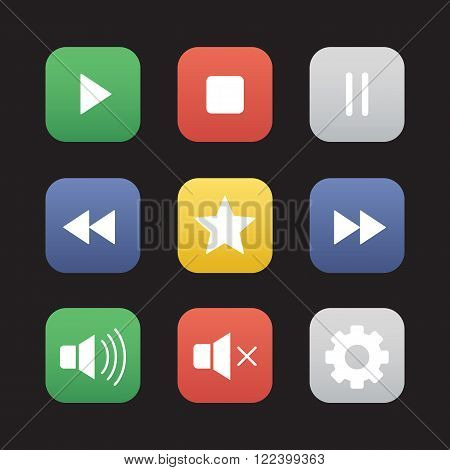 Multimedia flat design icons set. Audio and video control elements. Mp3 music player graphic interface items. Rewind, pause, stop and play buttons. Settings pictogram and rating star symbol. Vector