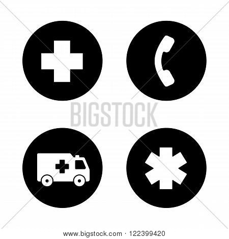 Ambulance black icons set. Hospital cross symbol, hotline telephone sign, ambulance car, star of life. Urgency medical care pictograms. White silhouettes illustrations. Logo concepts. Vector