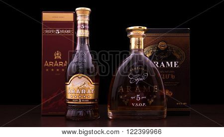 Tbilisi Georgia March 1 2016: A bootle of cognac Ararat and Arame . Two very famous and popular Armenian brandy names