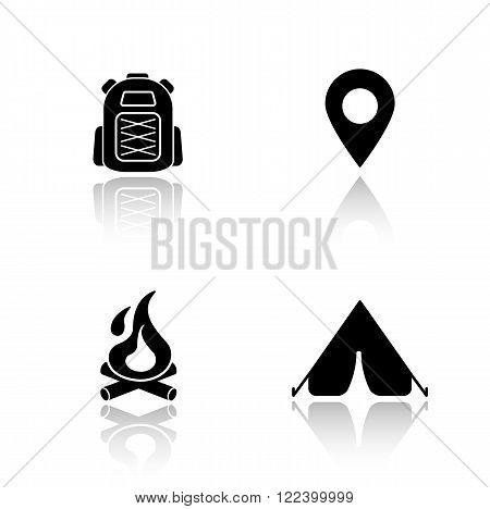 Camping drop shadow icons set. Hiking backpack, map pin mark, campfire, tourist camp tent. Outdoor recreation and travel equipment. Cast shadow logo concepts. Vector black silhouette illustrations