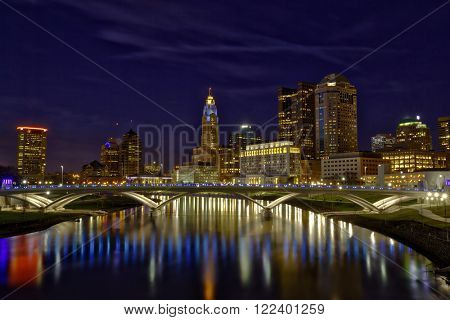 Vibrant skyline of Columbus, Ohio with the Main Street Bridge