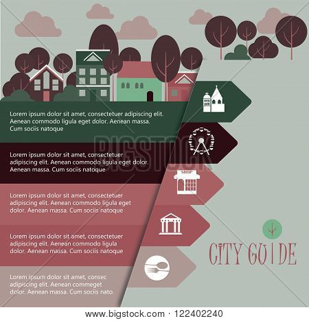 Vector template for city guide infographic design