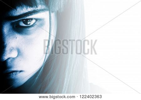 Portrait of scary girl staring at cameras,Aggressive woman with scary eyes,Horror background for halloween concept and book cover ideas poster