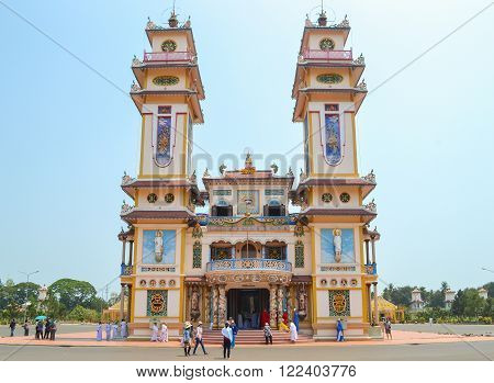 Tay ninh Vietnam - March 8 2013 : Cao Dai Temple of Tay Ninh Caodai is a Vietnamese religion mixing different religions from around the world.