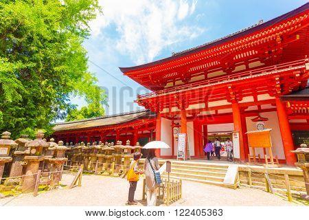 Kasuga-taisha Shrine Front Door Blue Sky Nara H