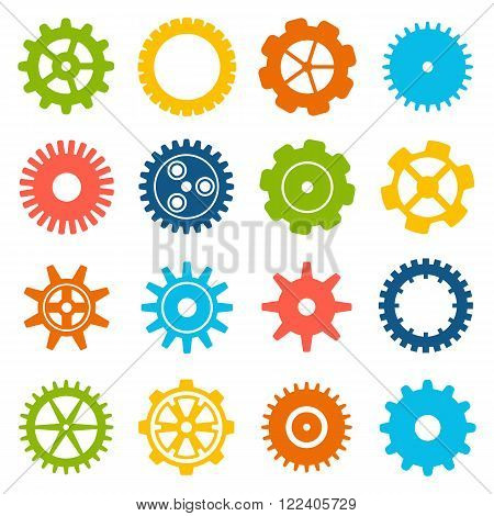 Gears and cogs icons set. Cog wheel Icon Collection. Vector illustration of cog icons isolated on white background.
