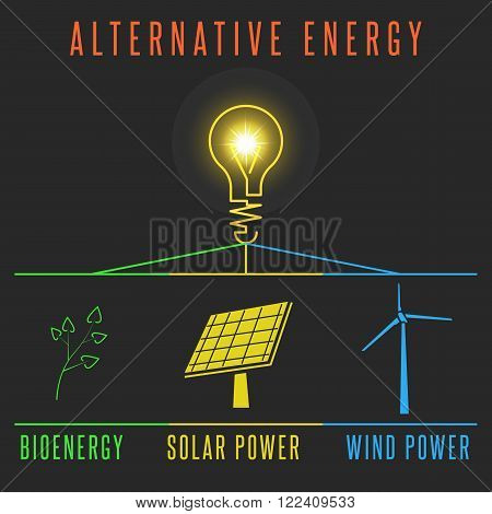 Alternative energy concept solar battery windmill plant self-healing power source light lamp world electric resource Earth