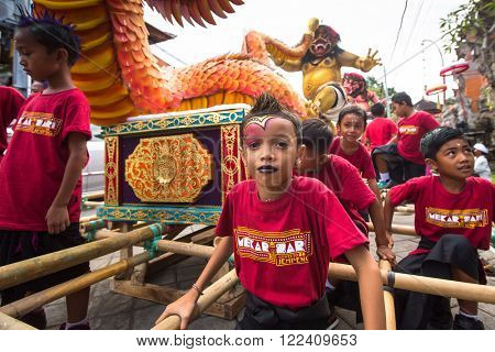 UBUD, BALI - MAR 8, 2016: Unidentified people during the celebration of Nyepi - day of silence, fasting and meditation for the Balinese, also celebrated as New Year, is a public holiday in Indonesia.
