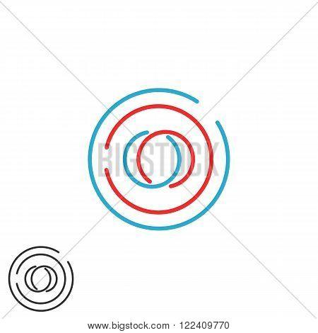 Initials Oo Monogram, Weave Letters O O Logo Hipster Line Frame, Business Card Emblem Mockup
