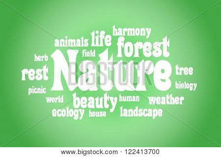 Association to the word Nature. White letters on a green background