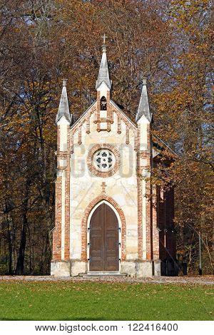 Catholic chapel in Novi Dvori forest in Zapresic Croatia poster