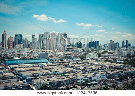 Bangkok Thailand - September 7 2015 : Daytime of Bangkok city. Bangkok is the capital and the most populous city of Thailand.