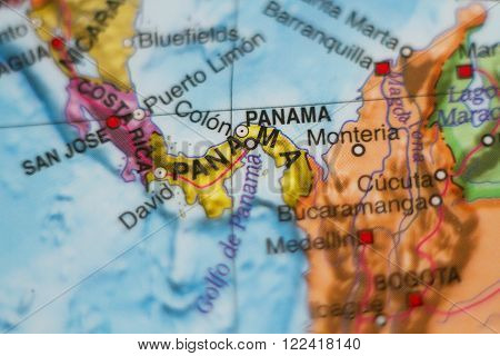 Beautiful photo of a map of Panama and the capital Panama .